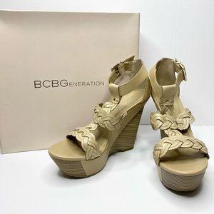 BCBGeneration Braided Leather Wedge Sandals